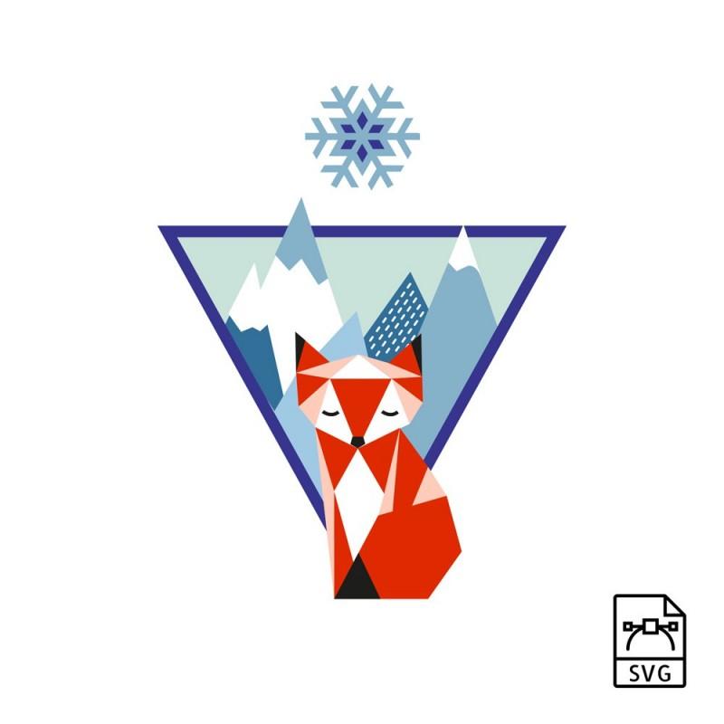 mountain fox vector graphics