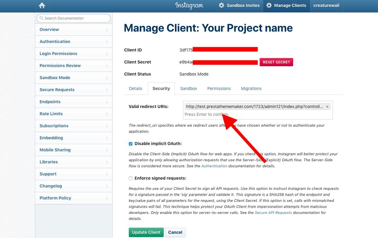 How to set Client ID and Secret Key in Instagram Module