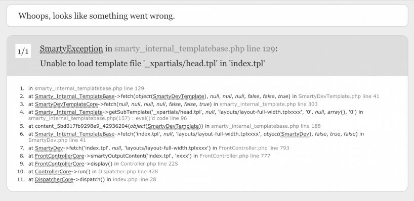 HTTP Error 500 in Prestashop  What's wrong? Enable debug