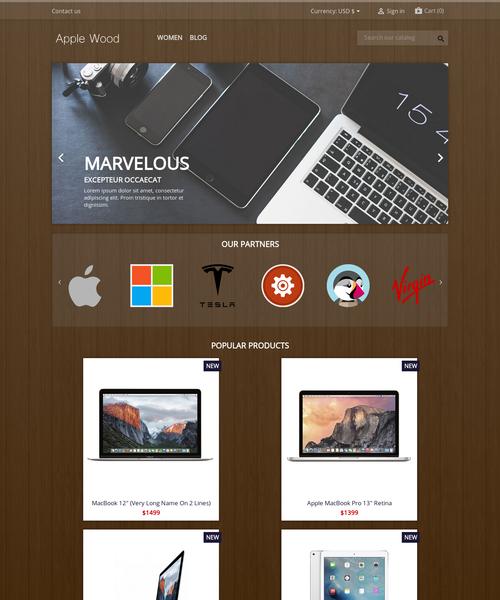 Prestashop responsive theme - Apple Wood