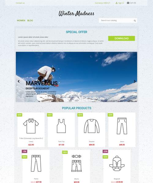 Prestashop responsive theme - Winter Madness