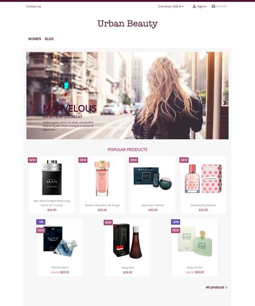 Prestashop responsive theme - Urban Beauty