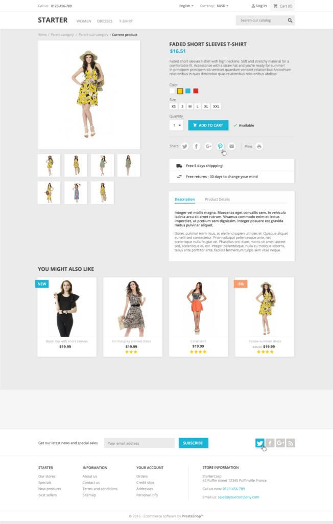 Prestashop 1.7 - Default Product Page